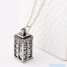 Doctor Who 3D TARDIS Police Box Pewter Tall PENDANT Silver Long Pendant Necklace