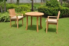 3 PC DINING TEAK SET GARDEN OUTDOOR PATIO FURNITURE POOL - LUA STACKING L06