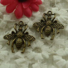 free ship 30 pieces bronze plated bee charms 27x26mm #3003