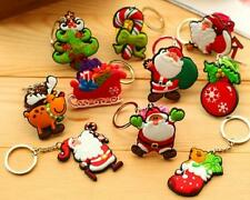 5 pcs Christmas Keychains Father Santa Claus Tree Deer Candy Gift Decor Keyring
