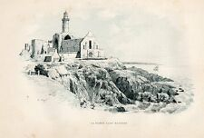 29 POINTE DE SAINT MATHIEU PHARE LIGHTHOUSE GRAVURE SUR BOIS 1885 WOOD ENGRAVING