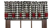 Valance Curtains Black White Check Lined Kitchen Appliqué Red Apples Nw182x41cm