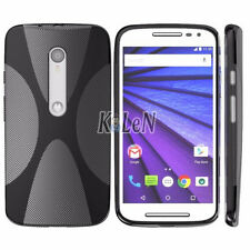 Black X Line TPU Silicone Case Skin Cover For Motorola Moto G 2015 3. Generation