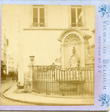 BRUXELLES  BELGIUM STEREOVIEW BY Q.V.FOUNTAIN LITTLE MAN PEE NEAR TOWN HALL
