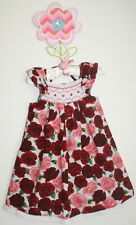 P'tite mom Boutique Designer Smocked Roses Bouquet Dress Girl Size 2T Gorgeous