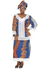 Womens African Lece Net 3 Piece Set Kenya Sengal Inspired Blue Print Blouse Gele