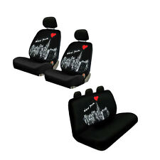 New Love New York Skyline Red Heart Universal fit Front Back Car Seat Covers