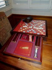 SCRABBLE WOODEN TURNTABLE TABLE TOP BOARD GAME IVORY TILES & BRASS TONE FINISH