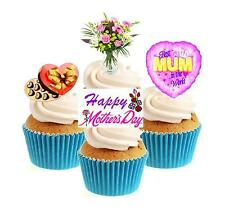 Novelty Mothers Day Mix  12 Edible Stand Up wafer paper cake toppers birthday