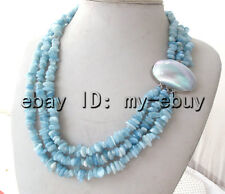 3 Strands Natural Blue Chips Aquamarine Necklace Mabe Clasp