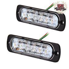2XSuper Bright White/Amber 6-LED Flash Emergency Hazard Warning Strobe Light Bar