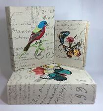 Wooden Embroidered Butterfly Decorative Secret Storage Book Boxes Set Of 3 New