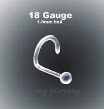 2pc. 18G (1.0mm) with 1.8mm Ball Clear Acrylic None Flexible Nose Screw Retainer