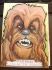 2012 Star Wars Galactic Files 1 Chewbacca Color Sketch Card Unknown Artist 1/1