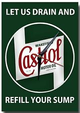 CASTROL LET US DRAIN YOUR SUMP METAL CLOCK,RETRO,GARAGE,CASTROL OIL.COLLECTABLE.