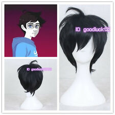 "new 12"" Homestuck John Egbert Cosplay Short Black Hair Wig +a wig cap"