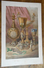 fine old portfolio plate lithograph exhibition sterling silver gold  objects