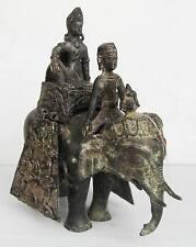 SUPER RARE! 16th.c Nepal Silver Bronze Malla Period King riding Regal Elephant