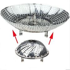 Folding Steel Metal Steamed Steam Food Dish Plate Steamer Pressure Cooker Basket