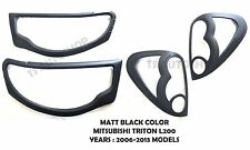 SET MATTE BLACK HEAD+TAIL LIGHT LAMP COVER FOR MITSUBISHI TRITON L200 2006-2013