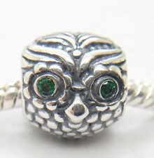 NEW AUTHENTIC Pandora S925 Silver Wise Owl Green Cz Charm Bead 791211CZN