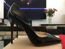NEW CHRISTIAN LOUBOUTIN Bat Pump 100 Black Patent Pigalle Pump Shoe EU37