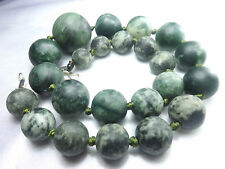 Natural Chunky Great Pattren Green Jade Graduated hand polished Beads