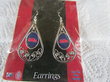 """MISSISSIPPI """" OLE MISS REBELS  """"  TEARDROP EARRINGS NEW WITH TAG"""