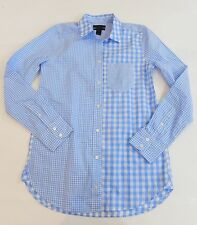 NWT J Crew Gingham Cocktail Shirt Size 00 Blue and White G2190 Bright Peri NEW