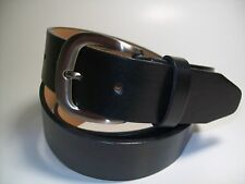 "Men Black leather belt with Smoke Color Buckle L 38 - 40"" #1080"