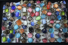 Newest Mix lots 15pcs Cat eye stone silver plated Multicolor Big Women ring L153