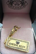 RARE!! BRAND NEW JUICY COUTURE CHECK BOOK GOLD BRACELET CHARM IN TAGGED BOX