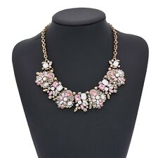 NEW ZARA BEAUTIFUL WHITE PINK CLEAR STONES GOLD NECKLACE - NEW