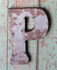 "10"" Industrial Rustic Block Letter P Sign, Natural, Recycled Metal Letter"