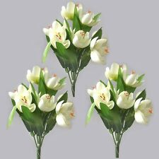 3 Artificial 22cm Crocus Bushes / Plants - Cream Flowers - Spring Flower Stem
