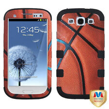 Samsung Galaxy S III 3 Rubber IMPACT TUFF HYBRID Case Cover Basket Ball