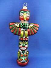 Totem Pole Western Indian Blown Glass Christmas Tree Ornament Poland 011286
