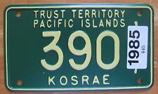 Trust Territory Pacific Islands 1985 KOSRAE MOTORCYCLE License Plate SUPERB #390