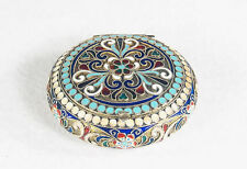 Early Soviet Russian Silver Enamel Compact with Mirror
