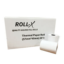 ROLL-X 57x40mm PDQ & TILL ROLLS, 500 ROLLS, QUALITY ASSURED! £2.83 per 20 ex VAT