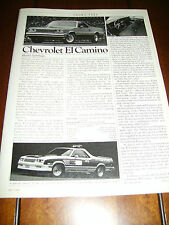 1984  CHEVROLET EL CAMINO  ***ORIGINAL ARTICLE***
