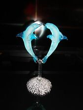 Double Dolphin Blue Figurine of Blown Glass Crystal