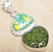 "Handmade Sparkling Dichroic Glass 925 Sterling Silver Pendant 2.25"" #P08588"