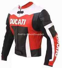 DUCATI MOTORBIKE RED LEATHER JACKET CE APPROVED ARMOR PROTECTION ALL SIZES