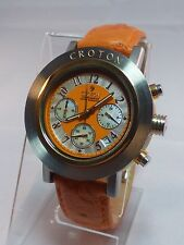 Croton Men's Chronomaster  Orange Dial  Watch L@@K WORKS