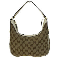 Authentic GUCCI GG Logos Shoulder Tote Bag Canvas Leather Brown Italy 07B420