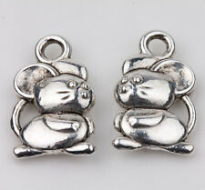 10pcs Tibet Silver Mouse Loose Spacer Charms Pendants Jewelry Finding 15x9mm