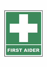 First Aider Hard Hat Helmet Vinyl Laminated Sign Sticker @ 50 x 41mm x 2 Vat Inc