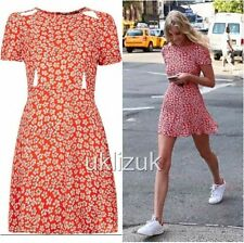 Topshop Red Daisy Floral Cut Out Waist Flippy Skater Dress - Size 16