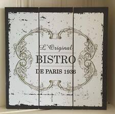 Shabby Wooden Wall Plaque Chic Vintage French Style Paris Bistro Hanging Sign